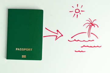 Green clean  passport and arrow to the plan in the picture (motivation).
