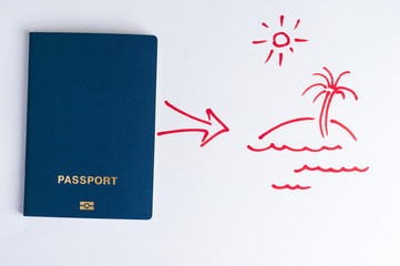 Blue clean passport and arrow to the plan in the picture (motivation).