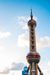 Oriental pearl tower under blue sky in Shanghai, China