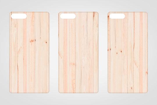 Blank wood smart phone case on grey background