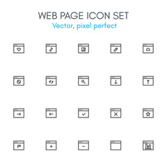 Web page theme, line icon set.