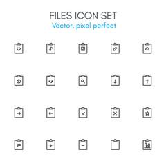 Files theme, line icon set.