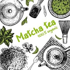 Vector frame with tea. Japanese tea ceremony. Matcha tea.