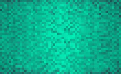 Turquoise abstract grunge background - Illustration,  Mosaic grunge green background,  Squares Of Light And Dark turquoise colour,  Green shapes of mosaic style