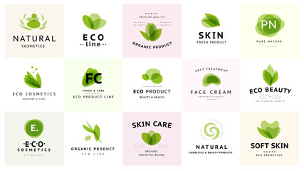 Vector collection of transparent beauty, eco cosmetics and healthy treatment symbols in green colors isolated on white background. Perfect for cosmetic, skin products and health care fashion insignia. Wall mural
