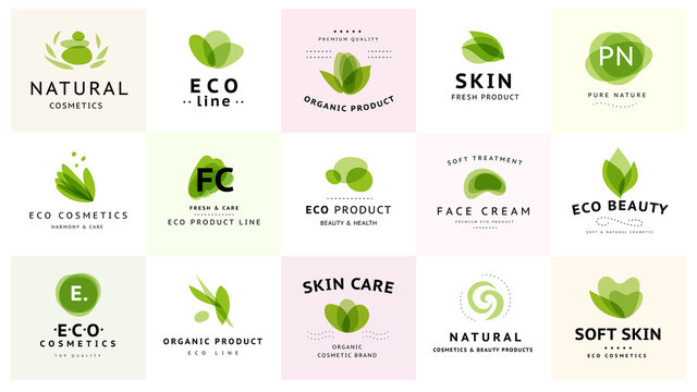 Vector collection of transparent beauty, eco cosmetics and healthy treatment symbols in green colors isolated on white background. Perfect for cosmetic, skin products and health care fashion insignia.
