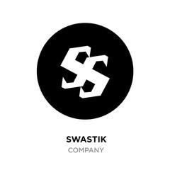 Black swastik logo,Hinduism religion sign, Indian swastika symbol isolated on white background