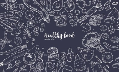 Horizontal banner with frame consisted of various healthy or wholesome food, organic products, fruits and vegetables hand drawn with white contour lines on black background. Vector illustration.