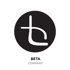 beta logo,abstract white flat vector sign B in modern style black background
