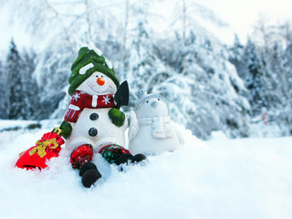 happy snowman christmas greeting card with snow and snowflakes