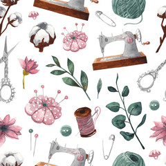 Seamless pattern with sewing items and floral elements. Sewing machine, scissors, thread, reel, pins, needles, buttons. Hand-drawn watercolor background