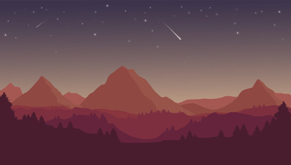 Vector flat cartoon night landscape with red and purple silhouettes of mountains, hills and forest and stars in the sky