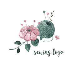 Sewing logo. Threads, a needle bed, a button and eucalyptus leaves. Watercolor illustration on white isolated background