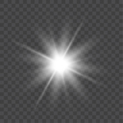 Vector bright light effect isolated on transparent background