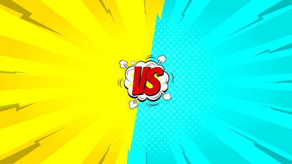Versus letters fight backdrop. Vector illustration with speech bubble. Decorative yellow and blue background with bomb explosive in pop art style.