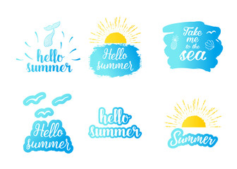 Hello summer text with sun, blue sea. Vector exotic beach icon, label, graphic set