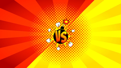 Versus letters fight banner. Vector illustration with bomb. Decorative red and yellow background with bomb explosive in pop art style.