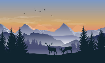 Fototapete - Vector blue and orange landscape with sunset view of silhouettes of mountains, hills and forest and two deer
