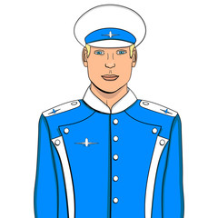 Pop art flyer man in blue uniform. Imitation comic style. Vector object on a white background. Aircraft pilot or aviator.
