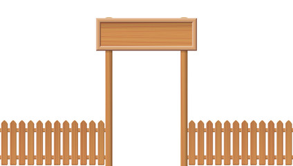 Entrance gate with blank sign and wooden fence - isolated vector illustration on white background.