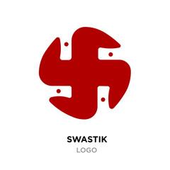 Red swastik logo,Hinduism religion sign, Indian swastika symbol isolated on white background