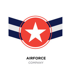 Airforce logo, Military armed forces badges and labels vector icon with red blue white styled star