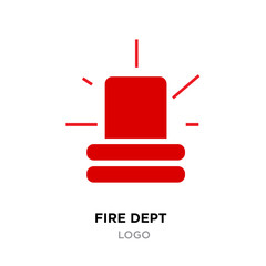 fire dept logo, Police red flasher siren sign flat style , flasher light emergency department ambulance accident