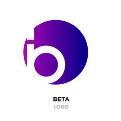 beta logo,abstract purple gradient flat vector sign B in modern style