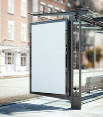 Bus stop with blank ad banner. 3d rendering