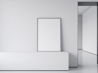White blank poster on shelf. 3d rendering