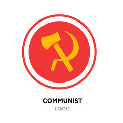 communist logo,USSR communism icon with yellow hammer and sickle. socialism symbol on roundy red background