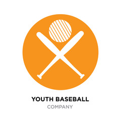 youth baseball logo, club vintage, T-Shirt Graphics, roundy yellow vector icon