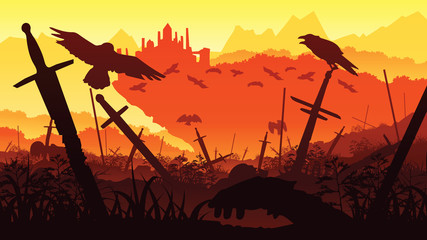 A high quality background of landscape with the fallen soldiers in the battle for the castle. Background of a swords and crows. Flat style.