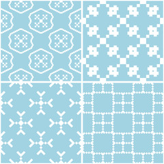 Geometric patterns. Set of blue and white seamless backgrounds