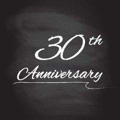 30th anniversary emblem hand drawn by chalk. 30 years celebration isolated on blackboard background. Vector illustration.