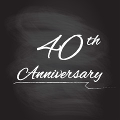 40th anniversary emblem hand drawn by chalk. 40 years celebration isolated on blackboard background. Vector illustration.