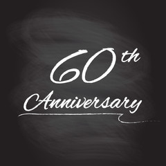 60th anniversary emblem hand drawn by chalk. 60 years celebration isolated on blackboard background. Vector illustration.