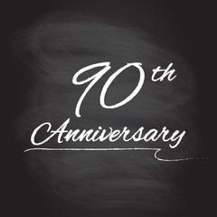 90th anniversary emblem hand drawn by chalk. 90 years celebration isolated on blackboard background. Vector illustration.