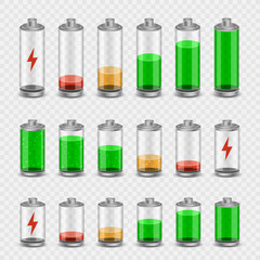 battery icon set transparent background