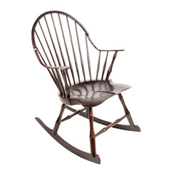 wooden brown rocking chair made of antique on a white background