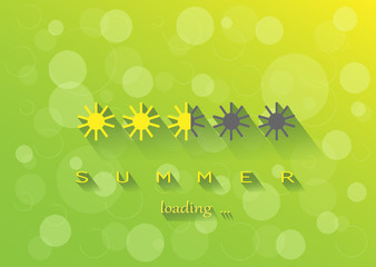 yellow sun simbols summer loading on the green yellow background horizontal, vector ilustration