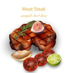 Beef Steak and vegetables Vector realistic. 3d illustrations