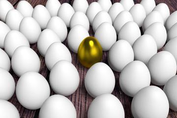 ein goldene ei zwischen weiße eier