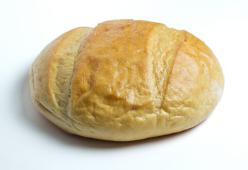 White round bread isolated on a white background