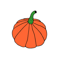 Linear cartoon hand drawn pumpkin. Cute vector colorful doodle pumpkin. Isolated funny pumpkin silhouette on white background.