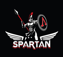 Spartan emblem in helmet and shield. Black-and-White logo