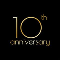 10th anniversary icon. 10 years celebrating and birthday golden logo. Vector illustration.