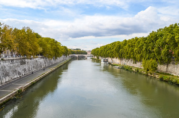 View of Tiber river from bridge in Rome