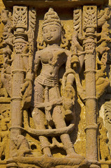 Carving details on outer wall of the Sun Temple. Built in 1026 - 27 AD during the reign of Bhima I of the Chaulukya dynasty, Modhera, Mehsana,  Gujarat