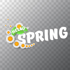 vector hello spring cut paper banner with text and flowers. hello spring slogan or label isolated on transparent background
